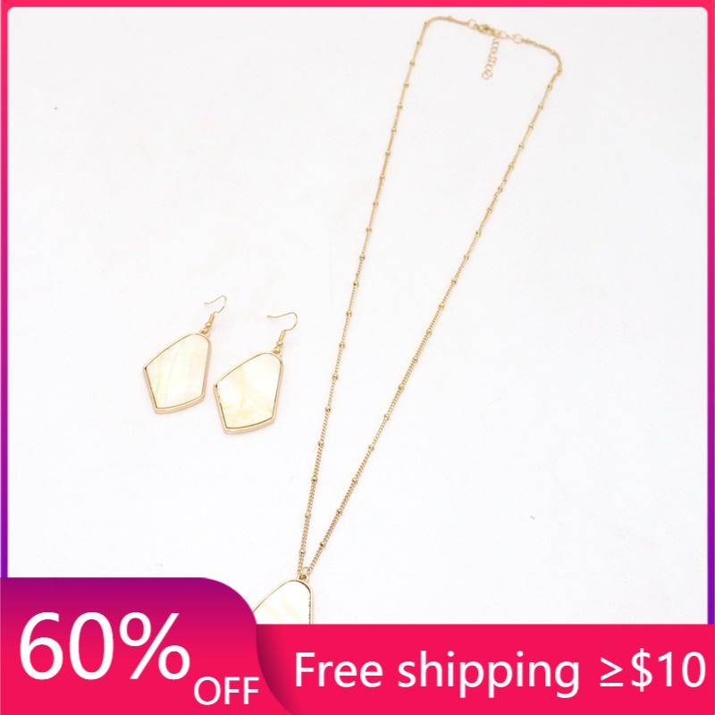 Fashion Irregular Faux Shell Pendant Necklace & Matched ACC Long Chain Sweater Necklace Geometric Body Jewelry