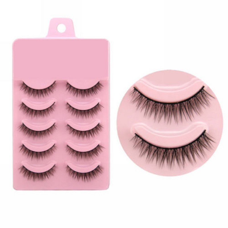 Image 2 - 2019 Hot 5 Pairs Popular Natural Short Cross False Eyelashes Daily Eye Lashes Girls Makeup Necessaries Wimper Extensiofor-in False Eyelashes from Beauty & Health