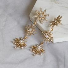 Retro Gold Color Shiny Crystal Star Statement Earrings for Women Vintage Metal Long Tassel Big Drop Earrings Wedding Jewelry недорого
