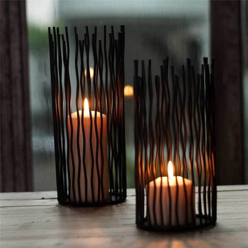 Black Bohemian Style Metal Desk Stand Candle Holders Wedding Candlestick Tealight Holder Home Decoration
