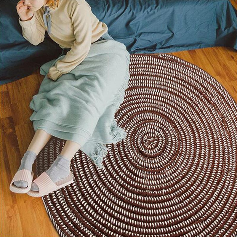 Round Jute Rug Carpets For Home Living Room Kids Room Handmade Knit Computer Chair Area Rug Household Bedroom Tatami Floor Mats