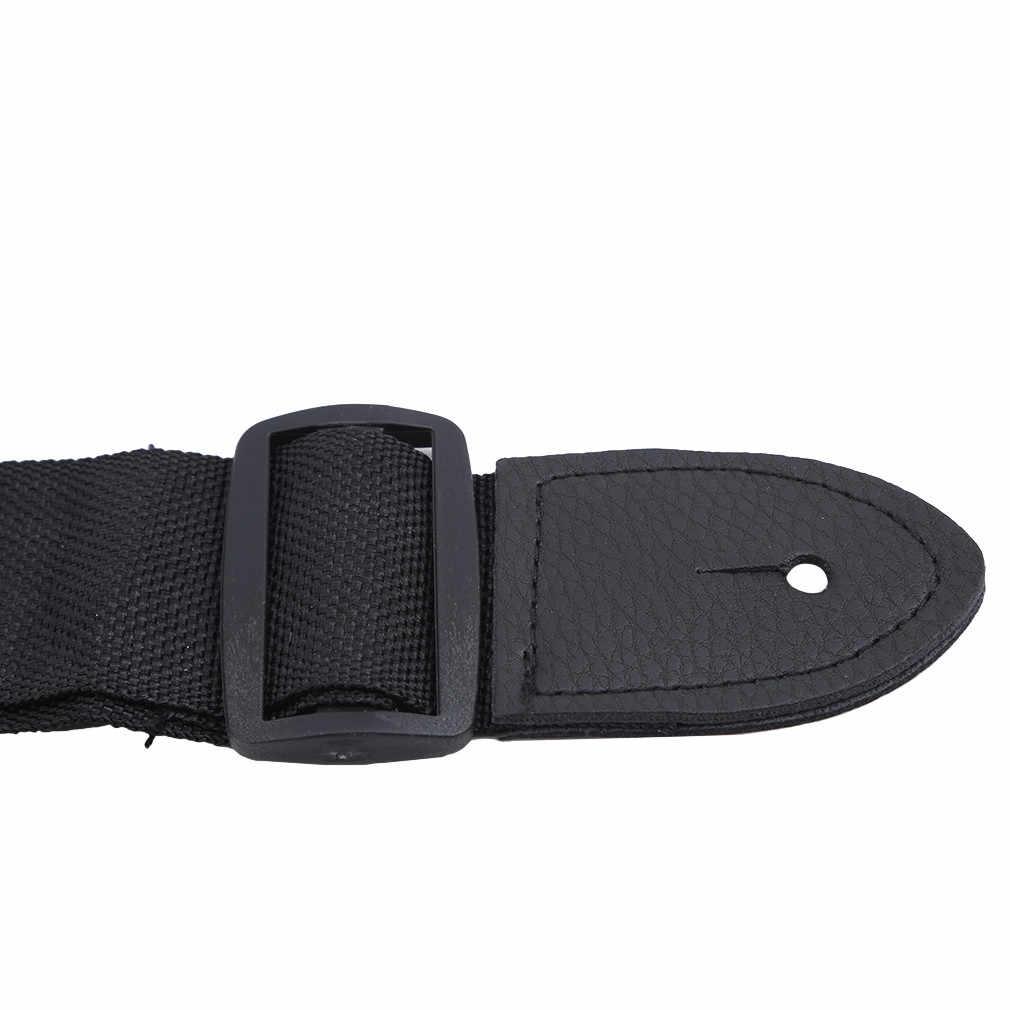 Gitaarband Leather Head Verstelbare Schouderband Voor Gitaar Elektrische Gitaar Bas Gitaar Onderdelen Accessoires Zwart Nieuwe