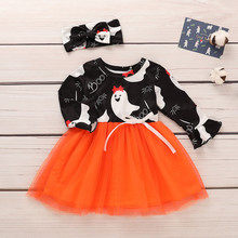 Baby Girls Halloween Dress Toddler Kids Long Sleeve  Clothes Devil Print Splice Tutu Suit1-3T