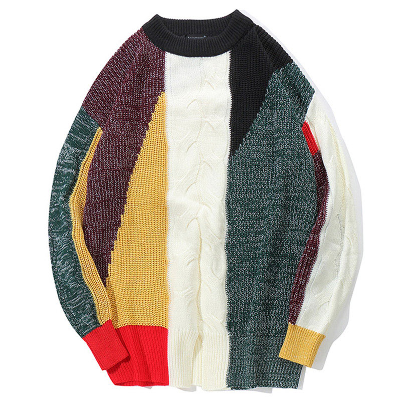 Sweater Man's Striped Patchwork  Pullover Knitting Slim High Street Sweaters Fashion Knitted Male  Couple Sweater Streetwear