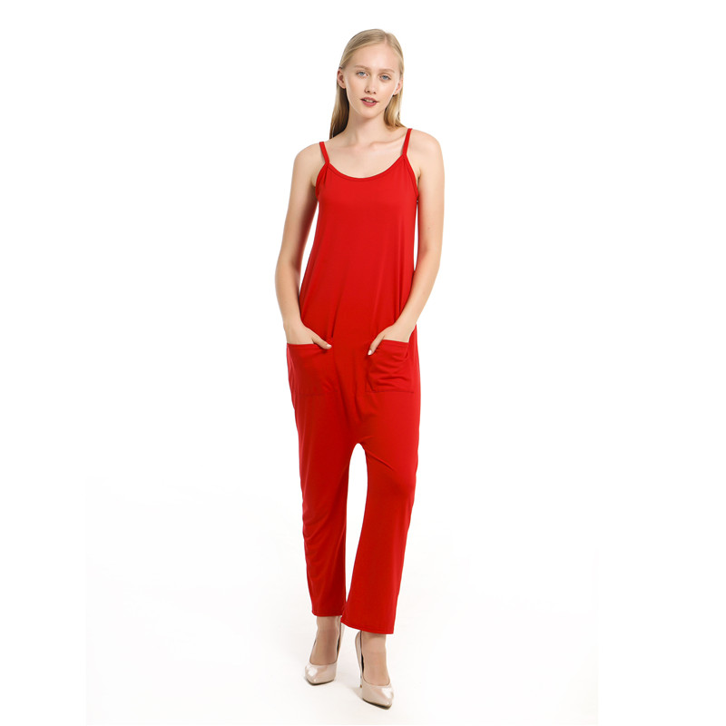 Woman Women Summer Sleeveless Strip Jumpsuit Solid Strappy Holiday Long Playsuits Trouser Fashion 2020 Pockets