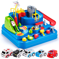 Manual Car Adventure Track Toys Railway Car Rush Through Customs Vehicle Rail Car Toys for Children House Play Game