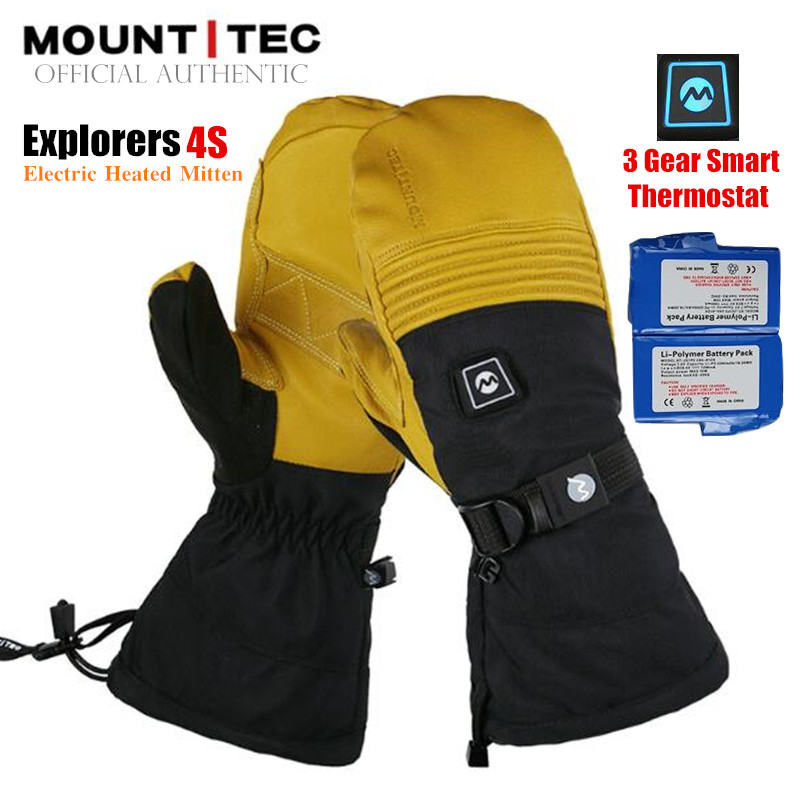 MOUNTITEC Unisex Explorers 4S Electric Heated Mittens Li-Battery Self Heating Touch Screen Goatskin Ski Gloves,3M Waterproof,8H