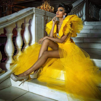 Sexy Gold High Low Prom Dresses With Tutu  Detachable Train Deep V-neck Ruffles 2 Pieces Gowns Over-skirt