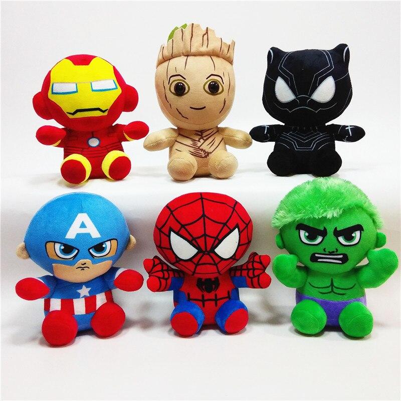 6pcs/bag 20cm Marvel Super Hero Captain America Iron Man Spiderman Plush Toy The Avengers Movie Soft Stuffed Dolls For Kids