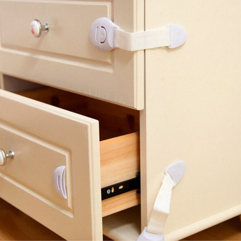 New 10pcs/Lot Baby Kids Safety Care Plastic Locks Drawer Door Cabinet Cupboard Toilet Safety Locks Straps Infant Baby Protection