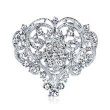 Big hearts womens white rhinestone corsage boutique love brooch holding flower wedding accessories
