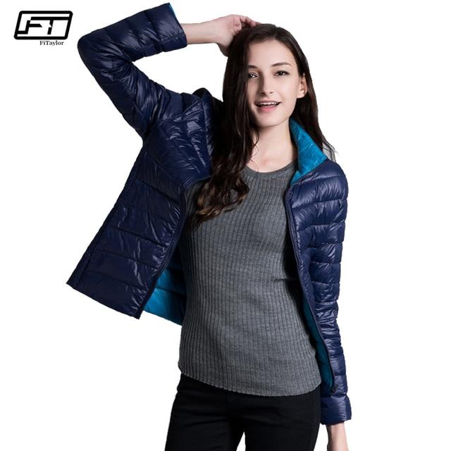 Fitaylor New Winter Women Down Jacket Ultra Light 90% White Duck Down Double Side Coats Short Design Slim Warm Parkas 2