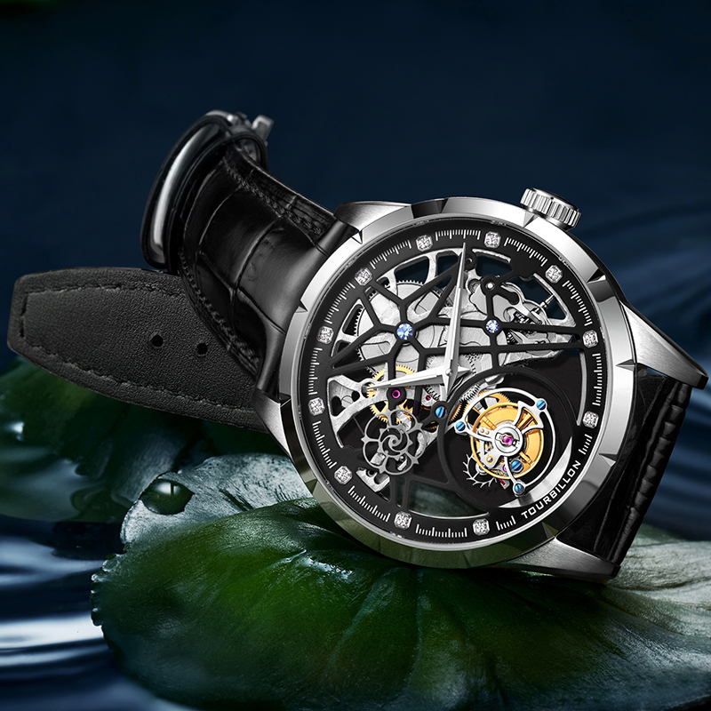 New Model GUANQIN 100% Original Tourbillon men watch top brand luxury double Skeleton Sapphire Relogio Masculino 1