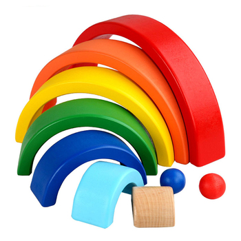 Baby Toys Rainbow Stacker Wooden Toys For Kids Creative Rainbow Building Blocks Montessori Educational Toy Children 7PCS montessori wooden rainbow blocks baby toys wooden toys for kids creative rainbow building blocks montessori educational toy