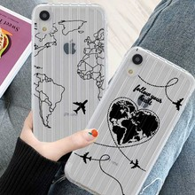 Suitcase Texture Phone Case For iPhone X XR XS MAX 8 7 6S 6 S Plus Silicone World Map Travel Airplane Soft ClearBack Cover