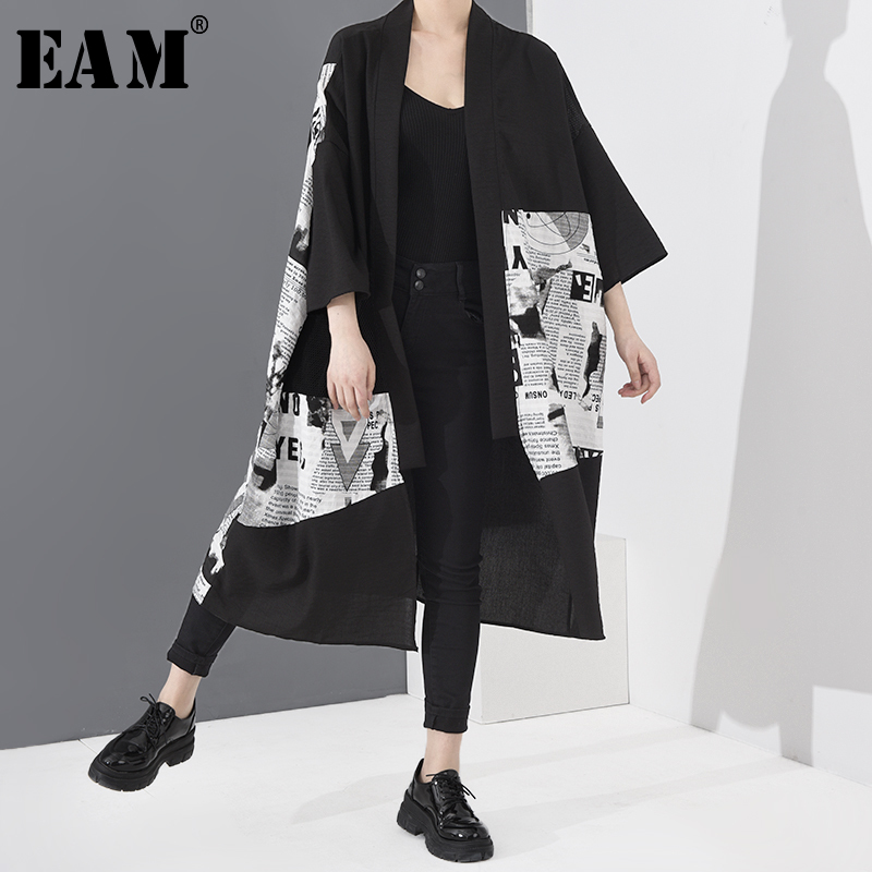 [EAM] Women Black Pattern Printed Big Size Trench New V-collar Long Sleeve Loose Fit Windbreaker Fashion Spring 2020 1T05601