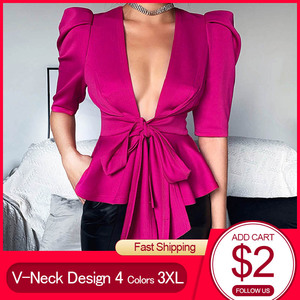 Сексуальная туника с v-образным вырезом на шнуровке, женская блузка, рубашка с рукавом до локтя, 2020, африканские женские вечерние блузки с ба...