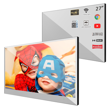 Souria Velasting 27 inch Android 7.1 Frameless Waterproof LED Mirror TV Smart for Bathroom
