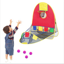 Child Indoor Basketball Shooting Ocean Ball Tent House Plastic Foldable Cartoon Indoor/Outdoor Toys Sports Tents