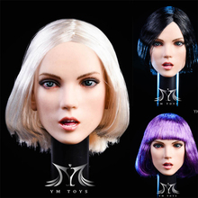 In Stock YMT025 1/6 Female Figure YOU Head with Planted Purple/Black/Silver Hair Head Sculpt Carved Model for 12'' Pale Body 1 6 female head carving elf girl head carved black blond hair detachable ears sculpt model for 12 phichen pale suntan figure