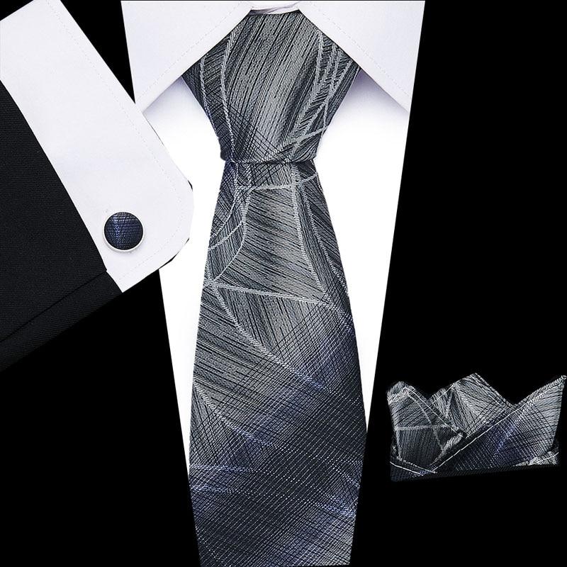 2019 Classic Luxury 8cm  Mens Tie100% Silk  Jacquard Woven Extra Long Tie Hanky Cufflink Set For Men Formal Wedding Party