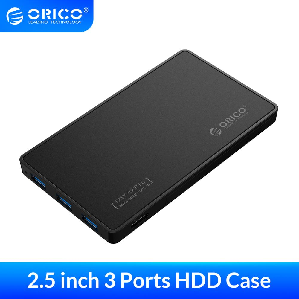 ORICO <font><b>2.5</b></font> <font><b>HDD</b></font> <font><b>Enclosure</b></font> USB 3.0 Hard Drive Case with 3 Ports USB3.0 HUB Tool Free Design Driver Not Required with 5V2A Power image