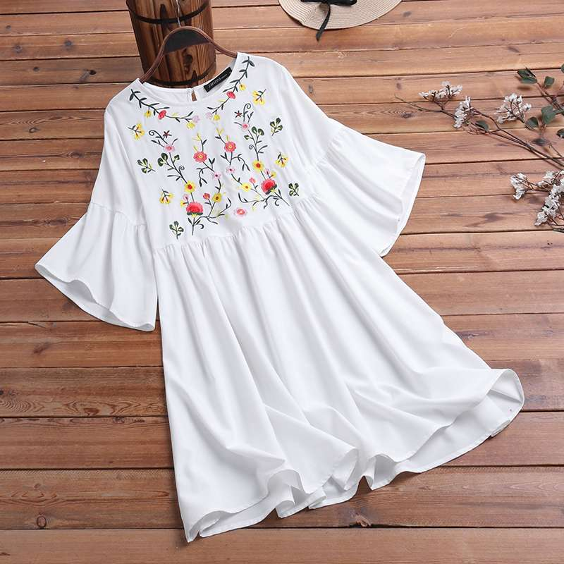 2020 Bohemian Floral Embroidery Sundress Summer Flare Sleeve Beach Dress ZANZEA Women Vintage Party Vestido Kafan Dresses 5XL image