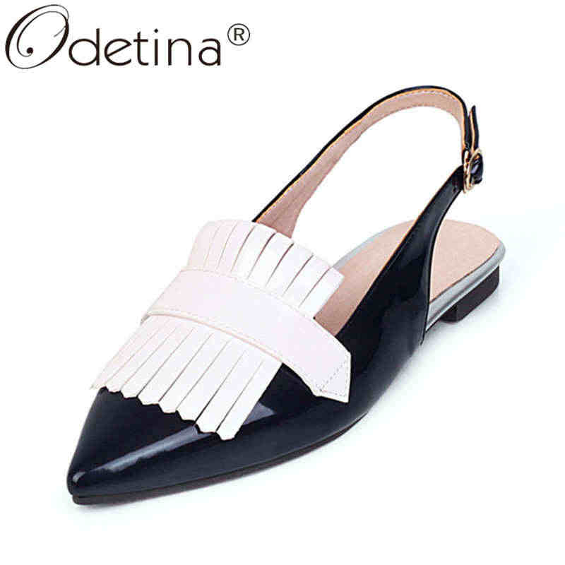 Odetina ผู้หญิงเย็บ Pointed Toe BUCKLE Fringe รองเท้าผู้หญิงสิทธิบัตรหนัง Chunky Heel ส้นรองเท้า
