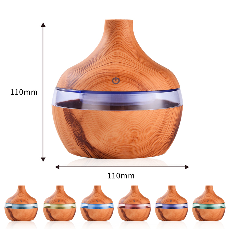 Electric Air Humidifier Essential Aroma Oil Diffuser Ultrasonic Wood Grain  Humidifier USB Mini Mist Maker LED Light