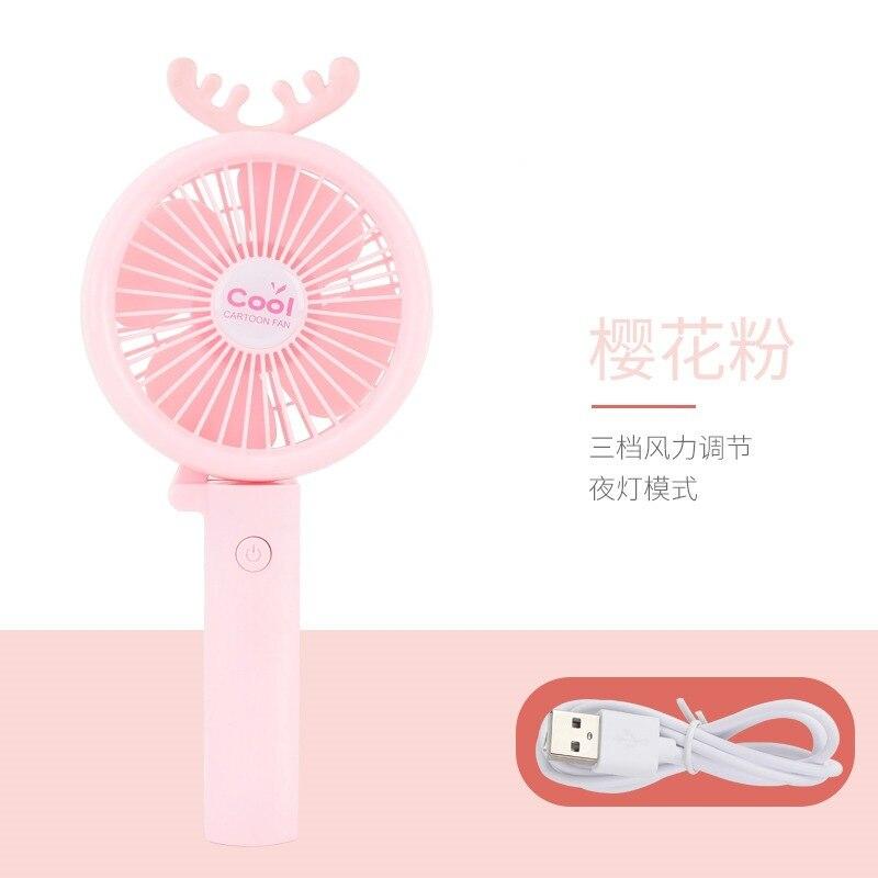 Cartoon Small Handheld Fan Carrying Charging USB Mini Portable Cute Pet Small Fan Three Block Diao Su Dai Lights