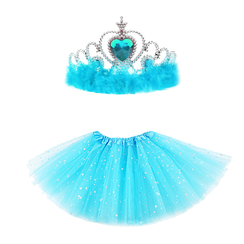 1-3T Newborn Baby Girls Star Glitter Dance Tutu Skirt For Girl Sequin 3 Layers Tulle Toddler Kids Pettiskirt Chiffon + Crown