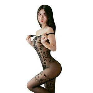 Frauen Sexy Dessous Porno Gabelung Hohl Strümpfe Strumpfband Strumpfhosen Transparente Strumpfhose Leopard Print Lange Strumpf