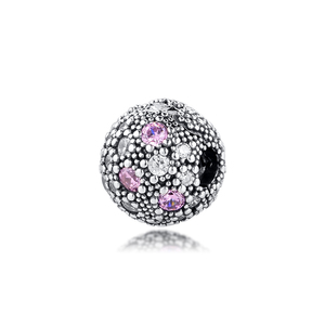 100% 925 Sterling Silver Pale Pink Cosmic Stars Clip Beads for Jewelry Making Fits Women Charms Silver 925 Original Bracelet