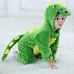 Umorden Baby Dinosaur Kigurumi Green Cartoon Animal Costume Infant Toddler Child Bodysuit Jumpsuit Onesie Flannel Comfortable