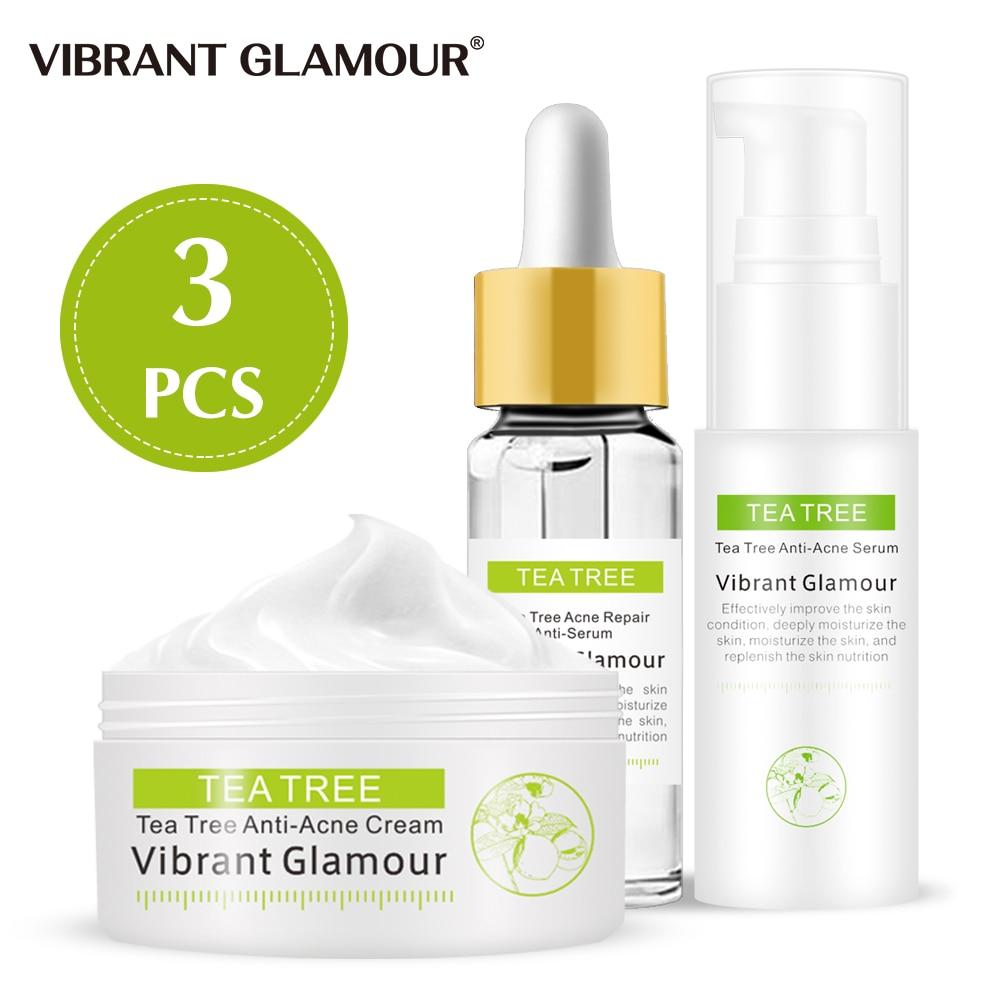 Reparação Soro Rosto Creme Facial Conjunto Da Árvore do chá Acne Remover Cicatriz Soro Tratamento Impressão Acne Essência Creme Cuidados Com A Pele VIBRANTE GLAMOUR