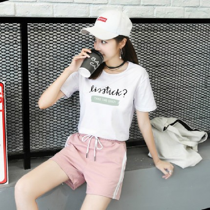 2019 New Style Korean-style Student T-shirt Tops + Shorts Sports WOMEN'S Suit Summer Casual Two-Piece Set Large Size