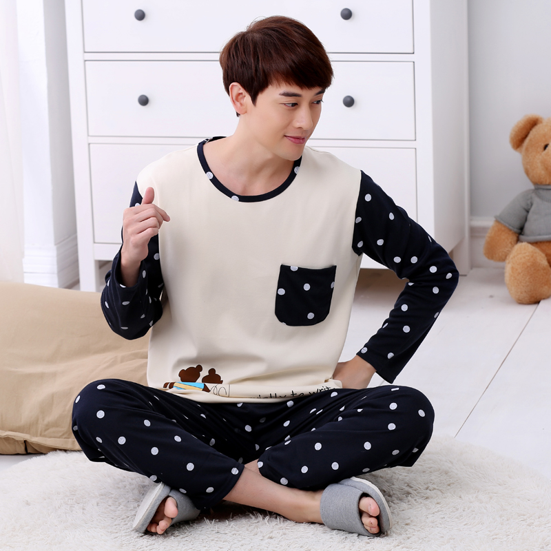 High Quality Casual Cotton Pajamas Sets For Men 2019 Autumn Winter Long Sleeve Pyjama Male Homewear Loungewear Mens Home Clothes