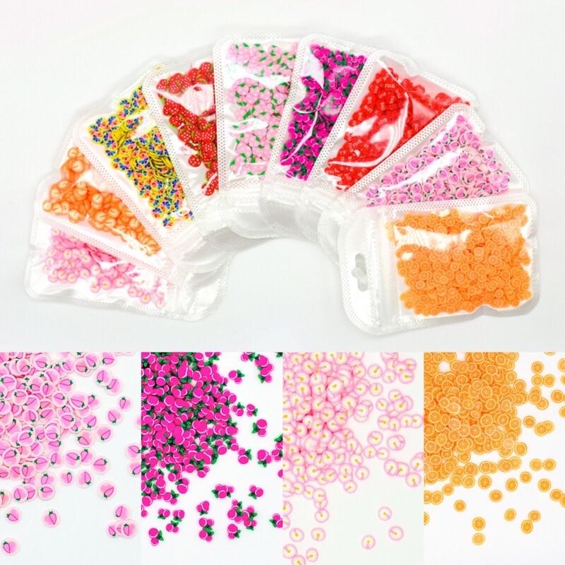 10 g/saco decorações da arte do prego frutas diy design fatias morango cereja unhas acrílico beleza polímero argila 3d etiqueta do prego decalques