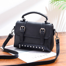 Ladies bag 2019 new fashion ladies shoulder PU leather casual zipper soft willow nail solid color handbag