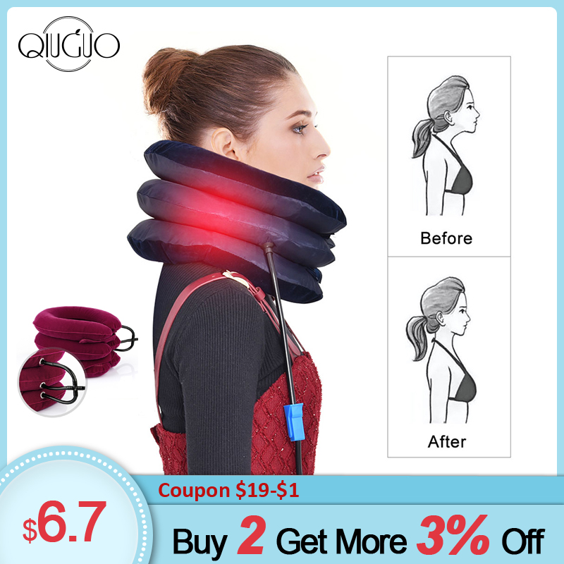 Air Neck Traction Stretcher Spine Cervical Tractor Neck Stretching Collar Relief Pain Inflatable Cervical Support Pillow