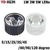 Chip LED COB de alta potencia, 1W, 3W, 5W, 5 8 10 15 25 30 35 45 60 90 120 grados 20mm, lente PMMA + soporte de lente LED