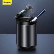 Baseus-Cenicero con luz LED para coche, Cenicero de aleación de aluminio, portátil, sin humo, con retardante de llama, con soporte para cigarrillos