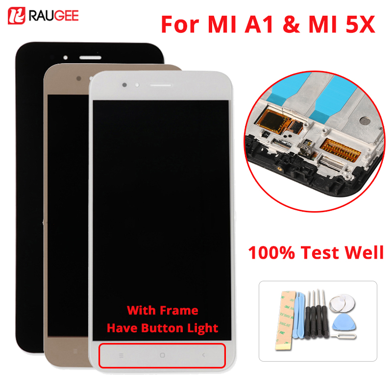 Für Xiao mi A1 Bildschirm LCD Display Touch Screen Mit Rahmen + Weiche schlüssel Licht Digitizer Montage Ersatz Für Xiao mi mi A1 mi 5X