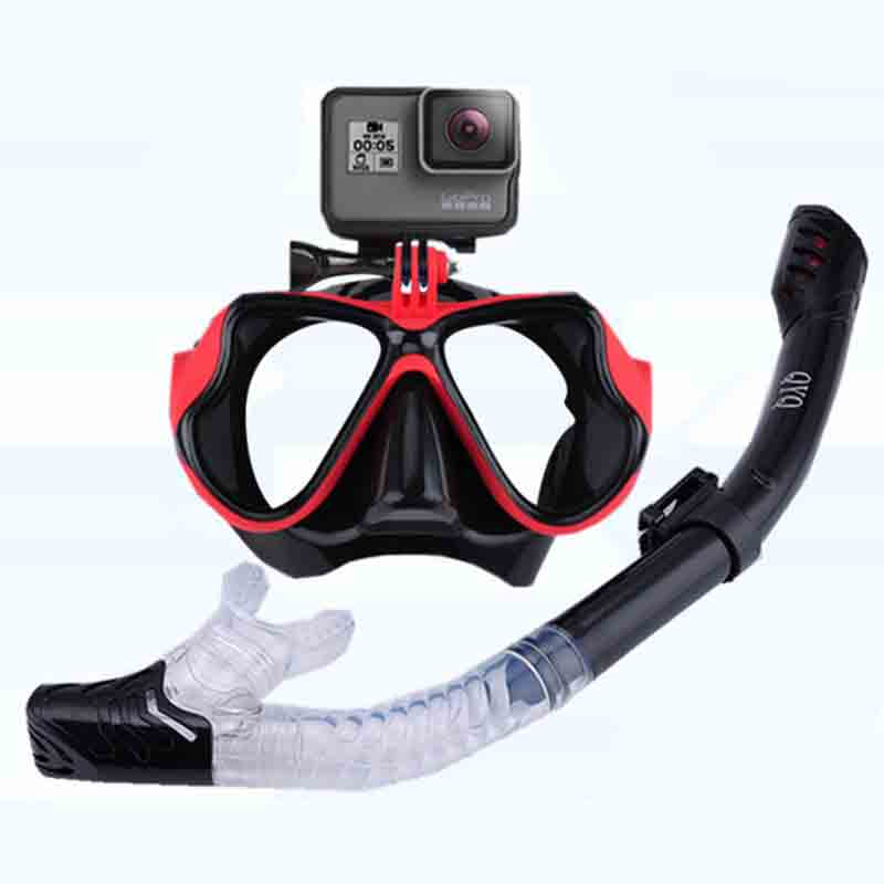 Snorkeling Mask Snorkel Tube Set Diving Mask Anti-Fog Swimming Diving Goggles Snorkel Tube For GoPro Underwater Sports Camera(China)
