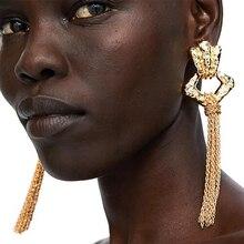 2019 Brand Design Za Trendy New Metal Tassel Earrings Gold Color Square Long Drop Earrings Vintage Boho For Women Party Jewelry цены онлайн