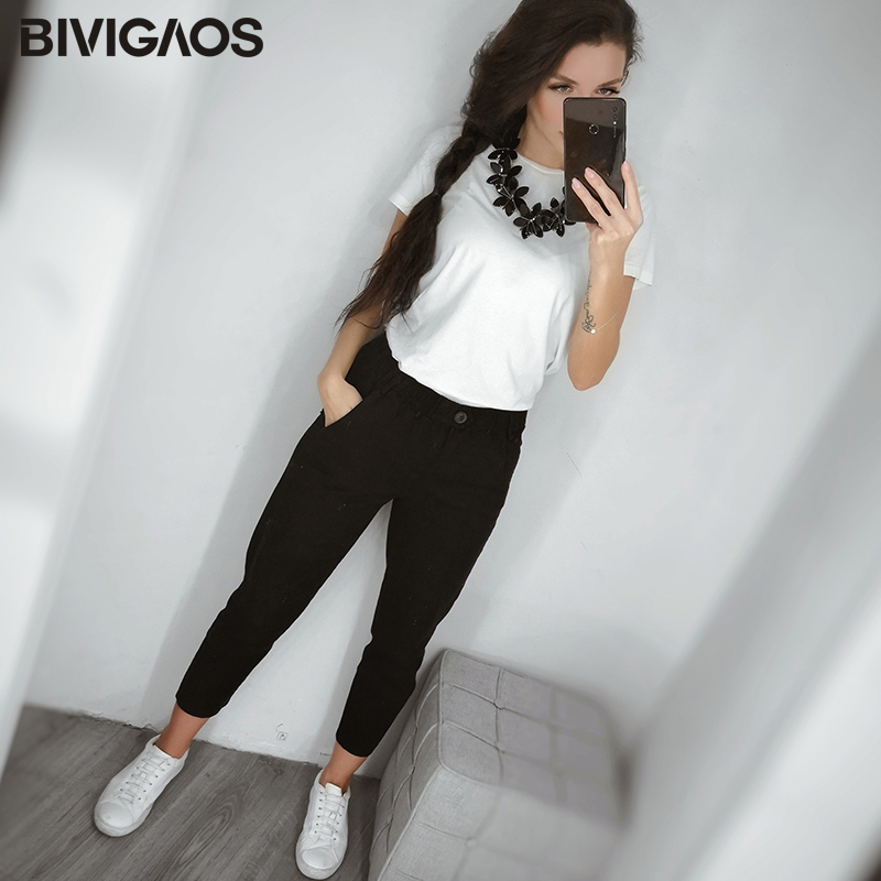 Image 5 - BIVIGAOS 2019 New Spring Women Clothing Straight Overalls Casual Harem Pants Korean Elastic Waist Triangle Buckle Cargo Pants-in Pants & Capris from Women's Clothing
