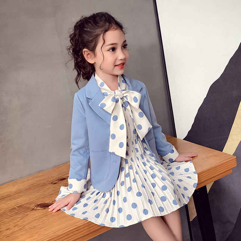 Little Girls Solid Blazers Full Sleeve Baby Girls Coat Double-breasted Princess Outwear 2019 Spring Turn-down Collar Kid Clothes
