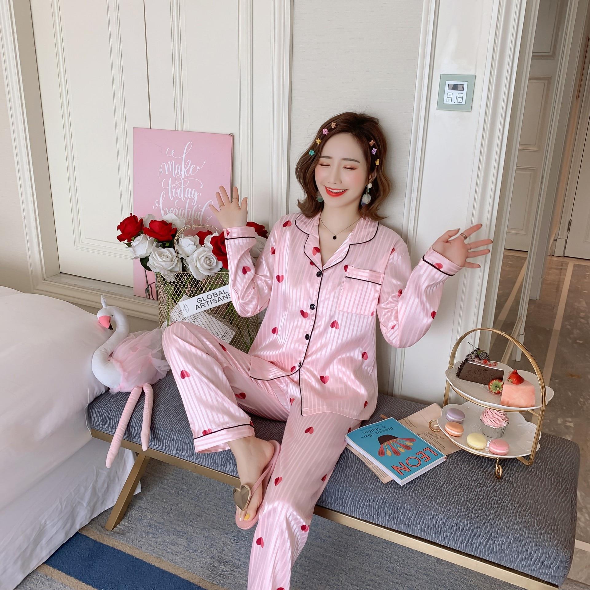 Women   Pajamas     Sets   Faux Silk Sleepwear Satin   Pajamas     Set   Flower Print Long Sleeves 2 Piece   Sets   Longsleeve Top Summer Homewear