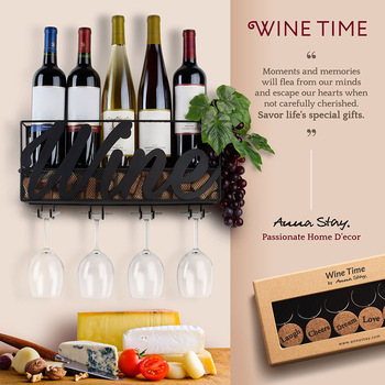 Hot Wall Mounted Wine Rack Bottle Glass Holder Cork Storage Store Red White Champagne Home Kitchen PLD