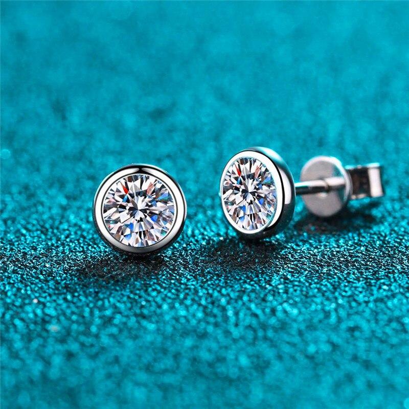 White Zircon Small Round Stone Stud Earrings For Women Vintage Fashion Gold/Silver Color Earrings Female Luxury Crystal Earrings